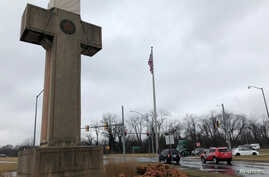 FILE -  A concrete cross commemorating servicemen killed in World War I in Bladensburg, Maryland.