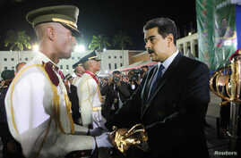 Venezuela's President Nicolas Maduro takes part in a military graduation ceremony in Caracas, July 8, 2019.