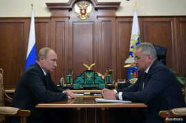 Russia's President Putin meets with Defence Minister Shoigu in Moscow