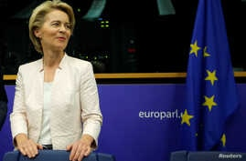 German Defense Minister Ursula von der Leyen, who has been nominated as European Commission president, attends a EU Parliament's political group European People's Party meeting at the European Parliament in Strasbourg, France , July 3, 2019.