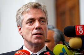 FILE PHOTO: German ambassador to Venezuela Daniel Martin Kriener delivers a news conference next to Venezuelan opposition leader Juan Guaido and accredited diplomatic representatives of the European Union in Caracas.