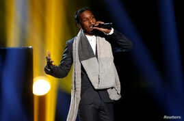 """FILE - A$AP Rocky performs """"I'm Not the Only One"""" with Sam Smith, not pictured, during the 42nd American Music Awards in Los Angeles, Nov. 23, 2014."""