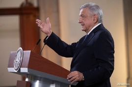 Mexico's President Andres Manuel Lopez Obrador speaks during a news conference before traveling to Washington D.C. to meet with U.S. President Donald Trump, at the National Palace in Mexico City