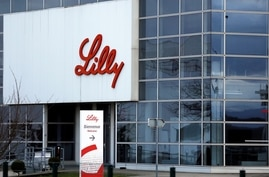 FILE PHOTO: The logo of Lilly is seen on a wall of the Lilly France company unit, part of the Eli Lilly and Co drugmaker group, in Fegersheim near Strasbourg