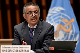 FILE PHOTO: World Health Organization Director-General Tedros Adhanom Ghebreyesus attends a news conference in Geneva