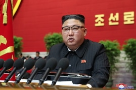 North Korean leader Kim Jong Un speaks at the Workers' Party congress in Pyongyang