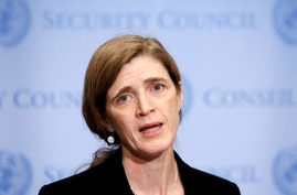 FILE PHOTO: United States Ambassador to the United Nations Power addresses media at the United Nations in New York City