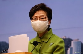 Hong Kong Chief Executive Carrie Lam attends a weekly news briefing in Hong Kong