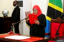 Tanzania's new President Samia Suluhu Hassan takes oath of office following the death of her predecessor John Pombe Magufuli at State House in Dar es Salaam
