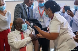 FILE PHOTO: COVID-19 vaccination at Khayelitsha Hospital near Cape Town