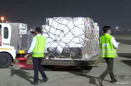 A shipment of vital medical supplies from the United Kingdom arrives in New Delhi