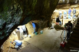 Excavations at Bacho Kiro Cave in Bulgaria