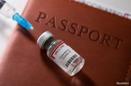"A syringe and a vial labelled ""coronavirus disease (COVID-19) vaccine"" are placed on a passport in this illustration picture"