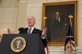 U.S. President Joe Biden delivers remarks on the state of the coronavirus disease (COVID-19) vaccinations