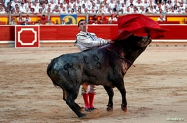 FILE PHOTO: Spanish bullfighter Octavio Chacon performs a pass to a bull during the last bullfight of the San Fermin festival in Pamplona