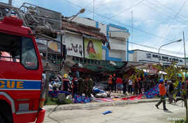 Damage from an earthquake is seen in Digos City, Davao Del Sur, Philippines, October 31, 2019, in this image obtained from…