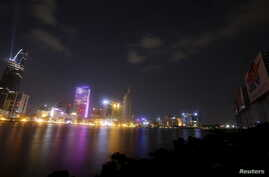 New buildings are seen along the Saigon river in southern Ho Chi Minh City