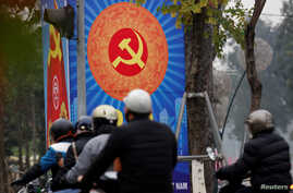 A poster promoting Vietnam's communist party is seen on a street in Hanoi, Vietnam January 23, 2019. Picture Taken January 23, 2019.  REUTERS/Kham