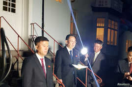 North Korea's chief nuclear negotiator Kim Myong Gil is seen outside the North Korean embassy in Stockholm, Sweden October 5,…