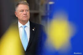 Romanian President Klaus Iohannis arrives for the second day of the European Union leaders summit dominated by Brexit, in…
