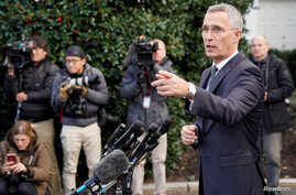 NATO Secretary General Jens Stoltenberg speaks to reporters after meeting with U.S. President Donald Trump at the White House…