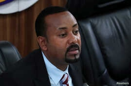 Ethiopia's Prime Minister Abiy Ahmed speaks during a session with the Members of the Parliament in Addis Ababa, Ethiopia,…