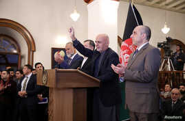 Afghanistan's incumbent President Ashraf Ghani, speaks after he won a slim majority of votes in preliminary results of…