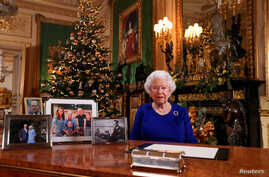 Britain's Queen Elizabeth poses, after recording her annual Christmas Day message in Windsor Castle, in Berkshire, Britain, in…