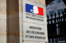 The logo of the Bercy Finance Ministry is seen at the main entrance of the Ministry in Paris, France, October 28, 2019. REUTERS…
