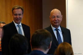 Klaus Schwab, founder and Executive Chairman of the World Economic Forum (WEF), and WEF President Borge Brende arrive for a…