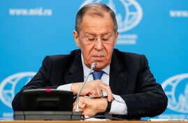 Russia's acting Foreign Minister Sergei Lavrov gestures during his annual news conference in Moscow, Russia, January 17, 2020…