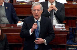 U.S. Senate Majority Leader Mitch McConnell (R-KY) speaks during the second day of the Senate impeachment trial of U.S…