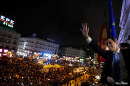 Venezuela's opposition leader Juan Guaido, who many nations have recognised as the country's rightful interim ruler, gestures…