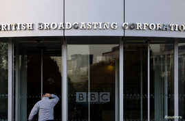 The entrance to the British Broadcasting Corporation (BBC) building is seen in White City in western London October 29, 2008…