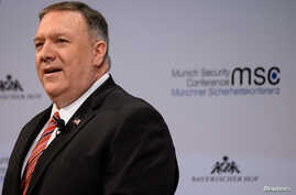 U.S. Secretary of State Mike Pompeo addresses the audience on the podium during the 56th Munich Security Conference (MSC) in…