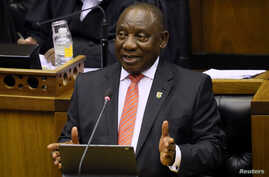 President Cyril Ramaphosa delivers his State of the Nation address at parliament in Cape Town, South Africa, February 13, 2020…