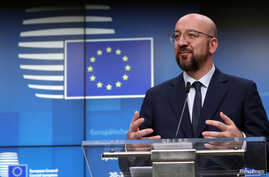 European Council President Charles Michel speaks at a news conference after the second day of the European Union leaders summit…