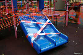 Playground is seen temporary closed, following the novel coronavirus disease (COVID-19) outbreak, in Hong Kong, China March 29,…