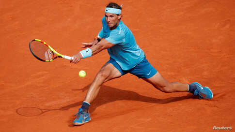 Spain's Rafael Nadal in action during the final against Austria's Dominic Thiem at the French open, June 10, 2018.
