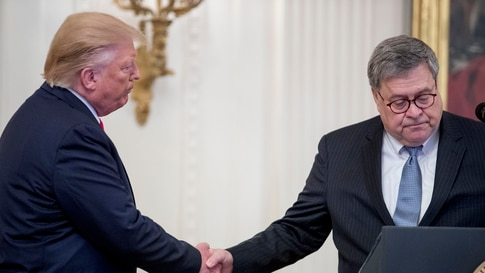 President Donald Trump, left, shakes hands with Attorney General William Barr, in the East Room of the White House in Washington, Sept. 9, 2019.