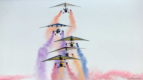 An aircraft team performs during an international general aviation show at the Yaocheng airport in Taiyuan, Shanxi province, China, Oct. 11, 2019.