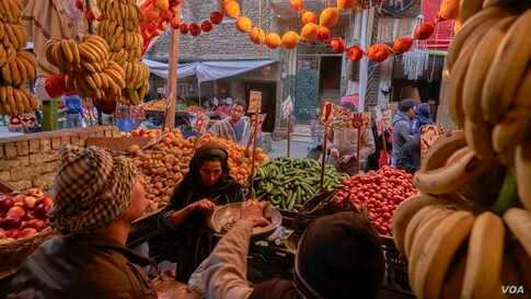 Shoppers flock to fruit vendors ahead of Coptic Christmas. Fruit is an essential part of celebrations for both Christians and Muslims in Egypt. (Hamada Elrasam/VOA)