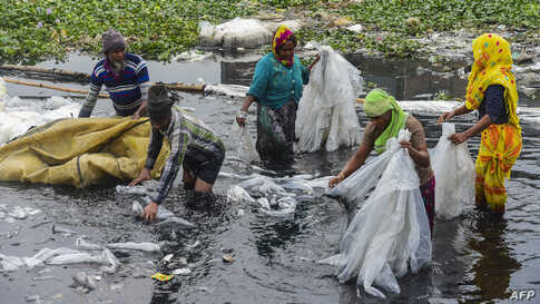 Workers scrub plastic bags used to carry industrial chemicals in the Buriganga river in Dhaka, Bangladesh.