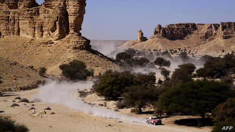 Toyota's driver Giniel De Villiers of South Africa and his co-driver Alex Bravo Haro of Spain compete during the Stage 9 of the Dakar 2020 between Wadi Al Dawasir and Haradh, Saudi Arabia.
