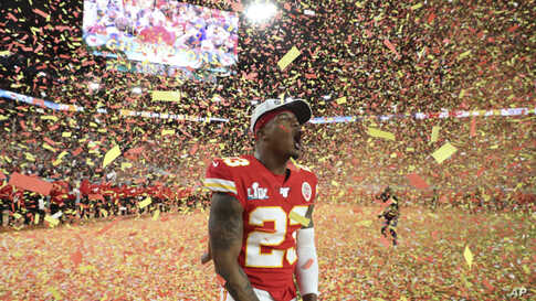 Kansas City Chiefs defensive back Armani Watts (23) celebrates his team's victory over the San Francisco 49ers in Super Bowl 54.