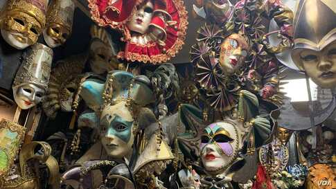 A shop in Venice specializes in carnival masks for the carnival, in Venice, Italy, Feb. 8, 2020.