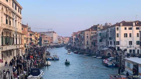The Venice canal where carnival floats were expected later, to kick off the Venice Carnival, in Venice, Italy, Feb. 8, 2020.