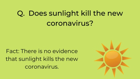 WHO infographic on sunlight and COVID-19