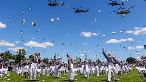 United States Military Academy cadets celebrate their graduation at the end of their commencement ceremonies in West Point, New York, June 13, 2020.