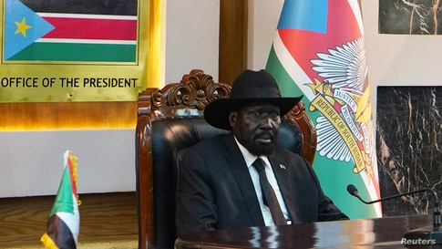 South Sudan's President Salva Kiir attends the oath taking ceremony of his Vice Presidents at the State House in Juba, South…